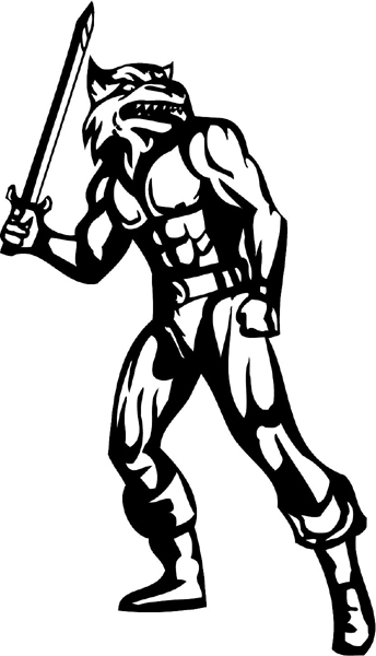 Sword wielding wildcat mascot action sports decal. Personalize on line. mascot_042