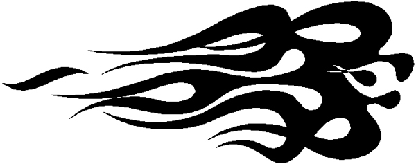 Bodacious flaming stripe vinyl decal. 3228